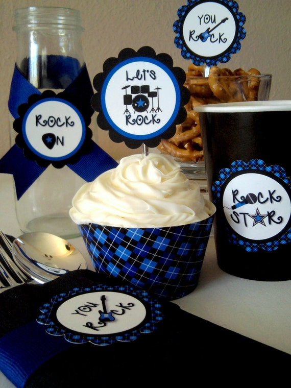 Instant Download - Printable Rock Star Cupcake Toppers / Favor Tags & Wrappers Set - Boys Rock