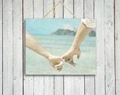 Stroll on the beach - holding hands photo - beach photo - home decor - aqua home decor - love photo.