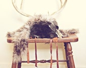 Native American Headdress - with fur, feathers, and antlers - Vintage - Handmade - headdress - native american.