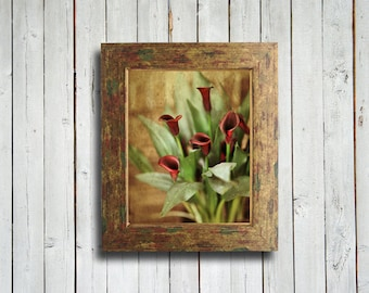 In Red - Red Calla Lilly flowers - 16x20 - Framed print - gold and red frame - calla lilly flowers - red flowers- red home decor