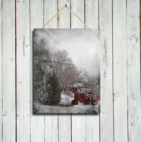 Christmas in the Country - Vintage Tractor in the snow - 11x14 - Canvas Wrap - Red wall art - Red decor- christmas decor