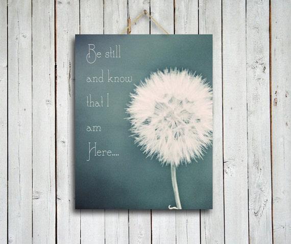Be Still - Dandelion canvas - Canvas art - be still and know i am here - dandelion art -  blue art - dandelion photography