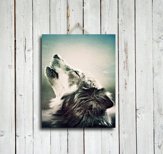 Howling wolf - 11x14 in. canvas print - wolf photo - wolf howling photo - wolf decor  - wolf dog - native american style - native america
