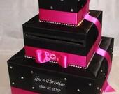 Elegant Custom Made Wedding Card Box -rhinestone accents