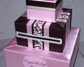 Chocolate Brown and Pink Wedding Card Box/Money Holder-rhinestone accents