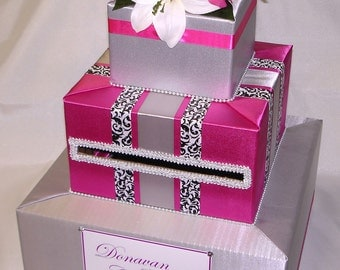 Silver and Fuchsia Elegant Custom Made Wedding Card Box-any design / color