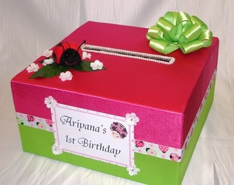 Kids Lady Bug theme Birthday - Custom Made Card Box-any theme, any occasion