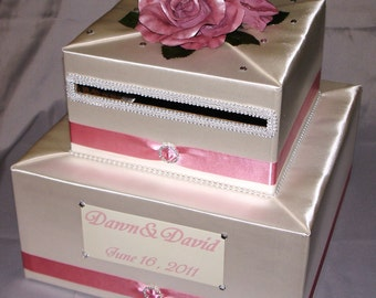 Ivory -Dusty Rose WeddingCard Box- any color/design