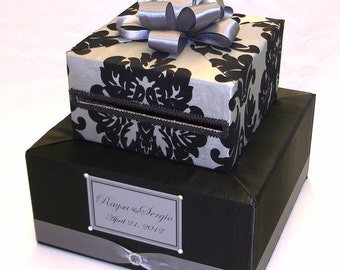 BLACK and GRAY Damask Design-any color combination
