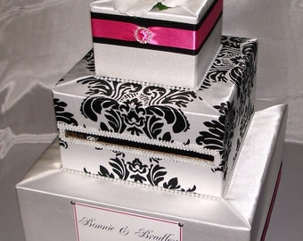 Elegant Custom Made Wedding Card Box-Damask Design-any color combination