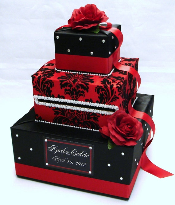 Black And Red Damask Wedding Card Box Rhinestone Accents Red