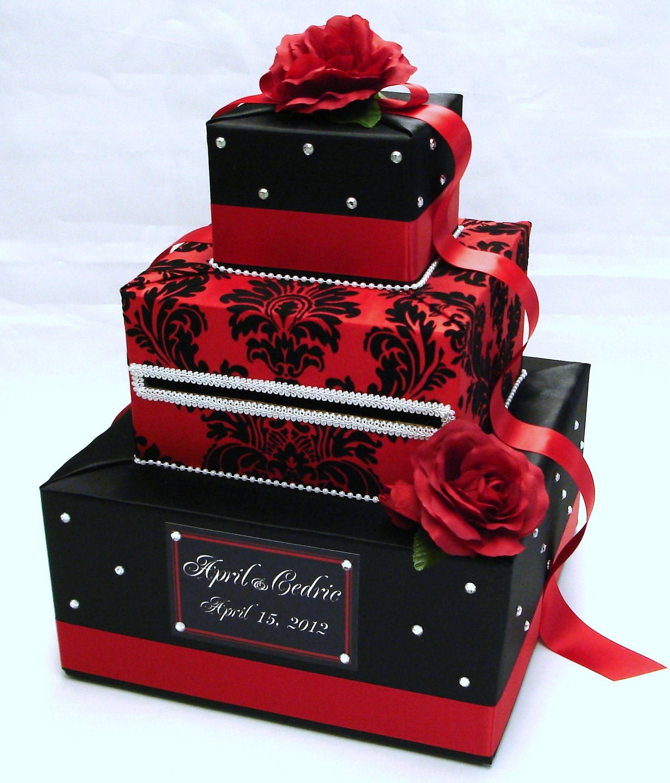 Wedding Card Box: Black And Red Damask Wedding Card Box-Rhinestone Accents-Red