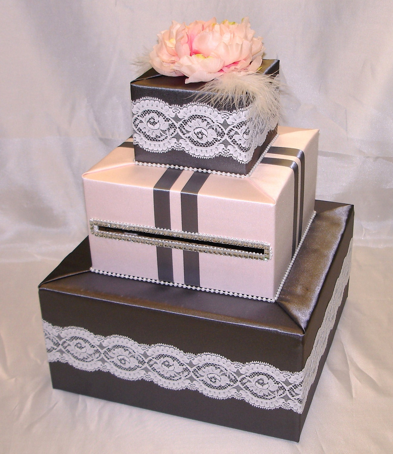 Elegant Custom Made Wedding Card Box-Lace accents