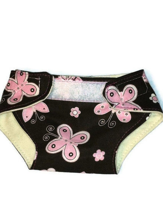 Cloth Diaper for Dolls/ Pink Butterflies on Brown Print with Mini Cloth Wipes -Reusable- Adjustable Black Friday Etsy Cyber Monday etsy