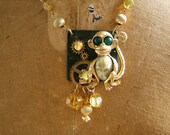 Necklace - Monkey Business - repurposed upcycled assemblage