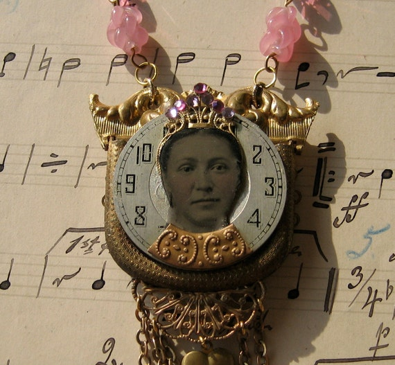 Necklace - The Queen - tintype, found objects, repurposed upcycled assemblage