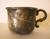 Vintage Hand Engraved Silver-Plate Childs Cup from the 1960's