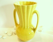 Vintage Yellow Pottery Vase with Handles 1950's