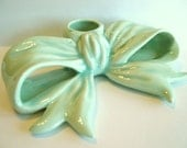 Vintage Pottery Bow Candle Holder - Pastel Blue Green 1990's