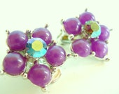 Vintage Lavender and Rhinestone Clip Earrings - Flower with Aurora Borealis 1960's (104)