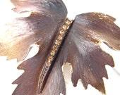 Vintage Enameled and Rhinestone Leaf Brooch - Dark Brown 1950's (item 152) - vintagebytheseashore
