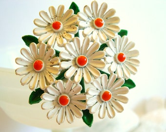 Vintage Enameled Flower Brooch Daisies White Orange 50's