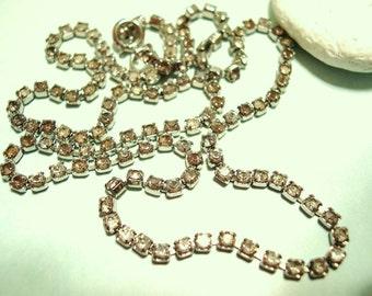 "Vintage Gray Rhinestone Necklace 18"" 60's (item 62)"