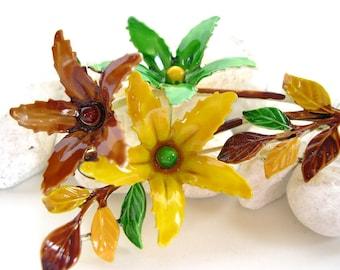 Vintage Enameled Flower Brooch Yellow Chocolate Green 50's