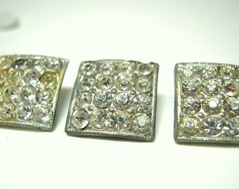 Vintage Rhinestone Buttons Pot Metal Squares Silver (3) 30's (item 37)