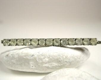 Vintage Jewelry Rhinestone Hair Pin Barrette Silver 1950's - 60's (item 108)