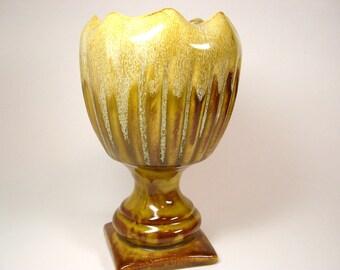 Vintage Pottery Pedestal Vase California Caramel Chocolate 50s - 60's