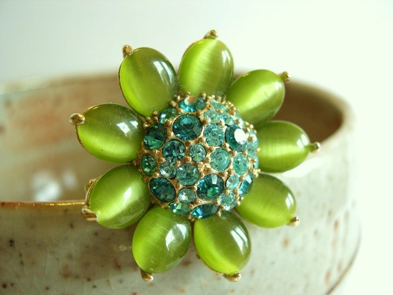 Vintage Rhinestone Monet Flower Brooch - Green Moonstone with Teal Daisy 1980's