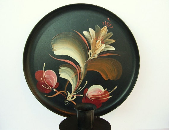 Vintage Metal Wall Sconce- Black Painted Brown and Red Floral 1960's