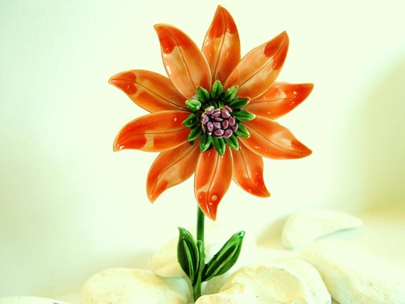 Reserved - Vintage Brooch Enameled Flower - Orange Zinnia with Purple 50's      Excellent Vintage Condition