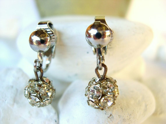 Vintage Rhinestone Clip Earrings  -Tiny Sparkling Balls  -1960's