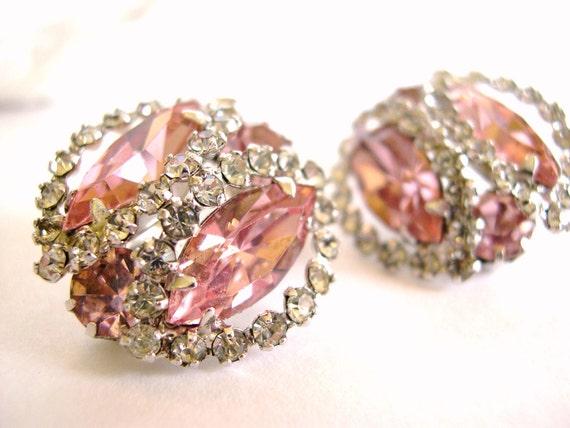 Vintage Weiss Rhinestone Clip Earrings - Pink Gorgeous Marquises - 50's (item 115)