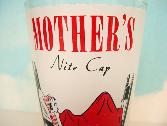 Vintage Funny Mother's Bar Glass - Mid Century Style (10)
