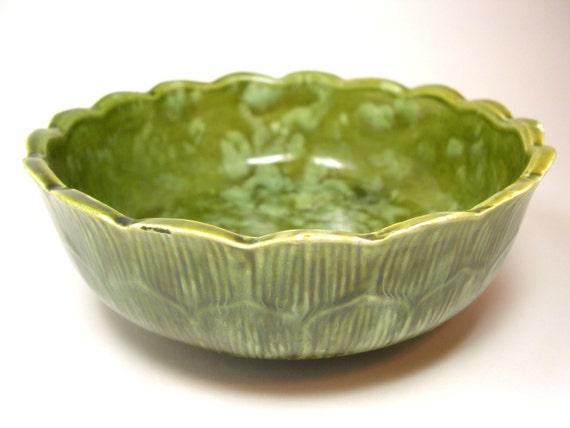 Vintage Covina Pottery Planter - Avocado Green Petal Design 1940 - 1970's
