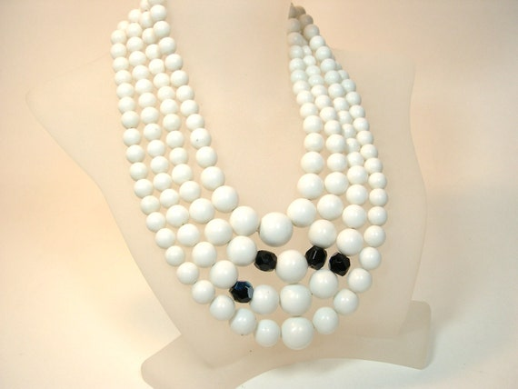 Vintage White Lucite Beaded 3 Strand Necklace 1960's