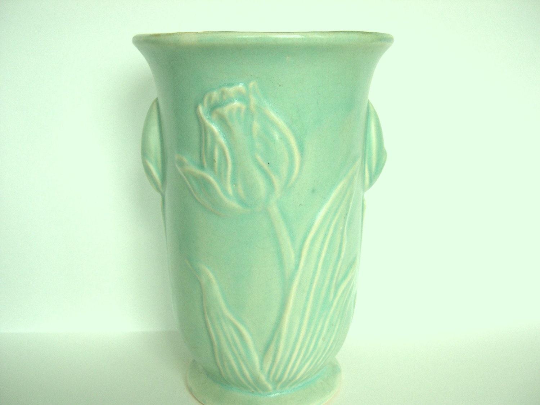 Vintage Mccoy Pottery Tulip Vase Pale Blue Green 1940 S