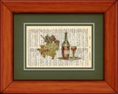 """Dictionary Art Print - Red Wine And Grapes - 6 3/4"""" x 9 3/4"""" - Art Print on Upcycled Dictionary Page"""