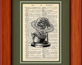 "Dictionary Art Print - Antique Globe - 6 3/4"" x 9 3/4"" - Art Print on Upcycled Dictionary Page - FRAME NOT INCLUDED"