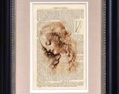 "Art Print - Leonardo daVinci - Head Of A Woman - 6 1/2"" x 10"" - Art Print on Upcycled Encyclopedia Page - FRAME NOT INCLUDED"