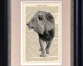 "Art Print - Male Lion In Classic Black And White - 6 1/2"" x 10"" Encyclopedia - Art Print on Upcycled Page - FRAME NOT INCLUDED"