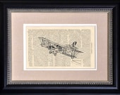 "Observation Plane - 6 1/2"" x 10"" - Book Art Print on 1860's Vintage Encyclopedia Page - FRAME NOT INCLUDED"
