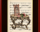 "Art Print - Victorian Table - 8 1/2"" x 11"" Music Page - Art Print on Upcycled Music Page - FRAME NOT INCLUDED"