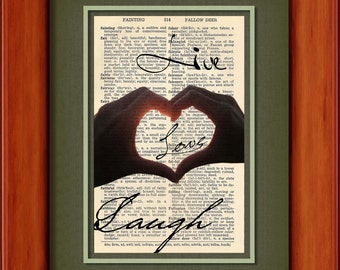 """Dictionary Art Print - Live Love Laugh - 6 3/4"""" x 9 3/4"""" - Art Print on Upcycled Dictionary Page - FRAME NOT INCLUDED"""
