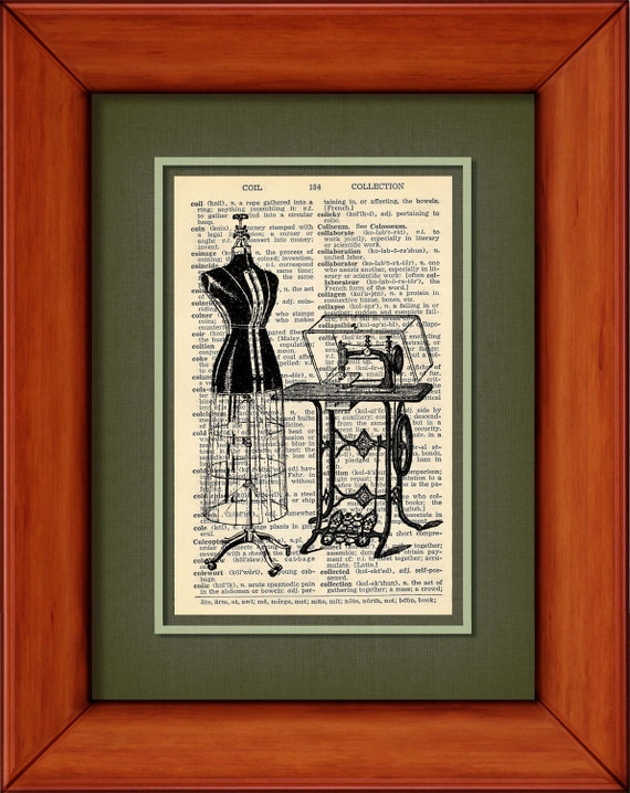 """Dictionary Art Print - Vintage Sewing Machine And Dress Form - 6 3/4"""" x 9 3/4"""" - Art Print on Upcycled Page - FRAME NOT INCLUDED"""