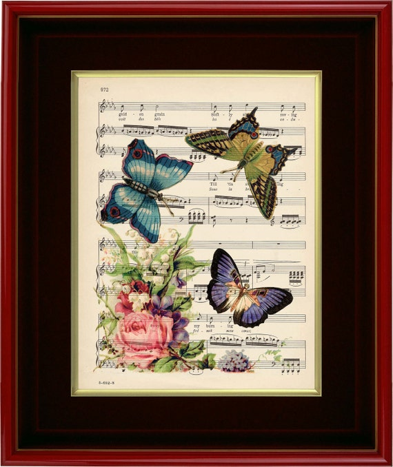 "Floral And Butterflies - Art Print on 1920's Music Page - 8 1/2"" x11"""