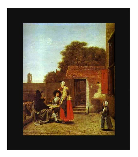 """Sale 40% off - Vintage 1950 Art Print - A Dutch Courtyard by Pieter De Hooch - 10"""" x 13"""" - One Available - Wall Hanging"""